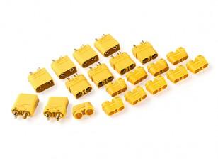 Nylon XT90 Connectors Male / Female With End Cap (5 sets) Yellow