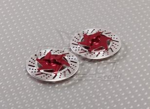 1/10ブレーキディスクホイールアダプタ12ミリメートル六角(赤 -  2PC)