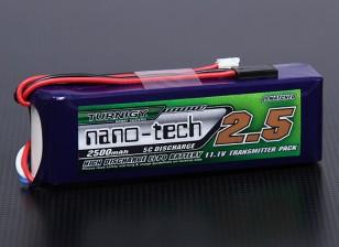 Turnigyナノテクノロジー2500mAh 3S1P 5〜10Cトランスミッターリポパック