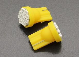 LEDコーンライト12V 1.5W(10 LED) - イエロー(2個)