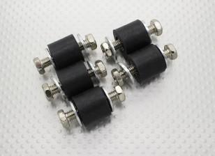 防振ラバーマウントブロック -  M6のx D18のx H16mm  - (5PC)