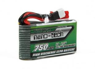 Turnigyナノテクノロジーの750mAh 1S 35-70Cリポパック(のWalkera V120D02S / QRインフラX / QR W100S)