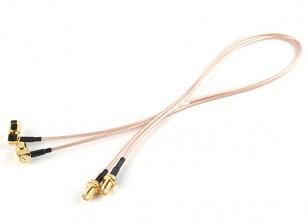 RP-SMAプラグワット/ 90度アダプタ< - > RP-SMAジャック500ミリメートルRG316拡張(2個/セット)