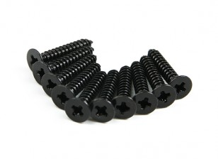 Screw Flat Head Phillips M2.6x15mm Self Tapping Steel Black (10pcs)