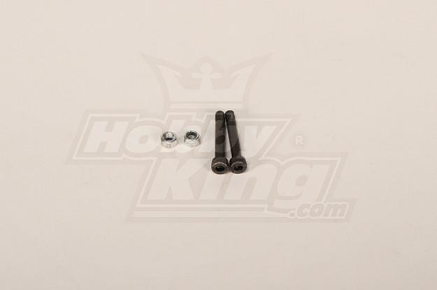 90 & 700 Tamanho Heli lâmina principal Screw w / Porca 5x34mm (2pcs / bag)