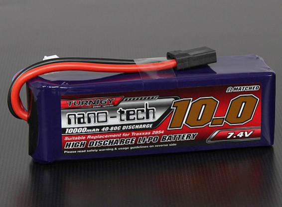 Turnigy nano-tecnologia 10000mAh 2S 40 ~ 80C Lipo Pack (Stampede / Rustler / Bandit compatível)