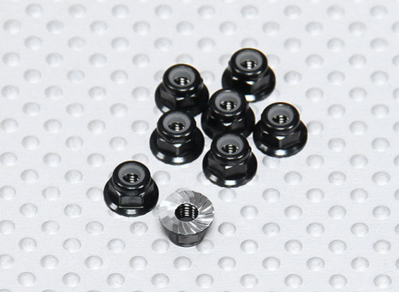 Preto alumínio anodizado M3 Nylock porcas da roda w / serrilhada flange (8pcs)