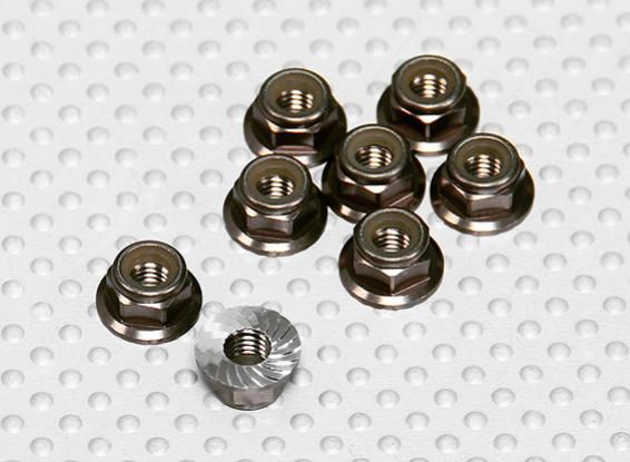 Cor titânio alumínio anodizado M5 Nylock porcas da roda w / serrilhada flange (8pcs)