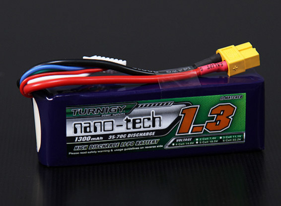 Turnigy nano-tecnologia 1300mAh 6S1P 35 ~ 70C Lipo Pack (450 helicóptero HK / Trex / Rave / E4 etc)