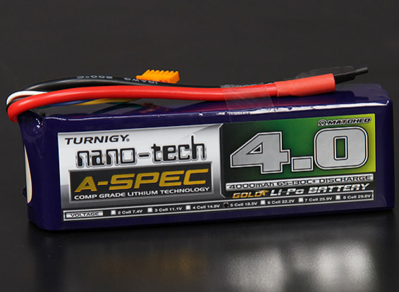 Turnigy nano-tecnologia A-Spec 4000mAh 5S 65 ~ 130C Lipo pacote