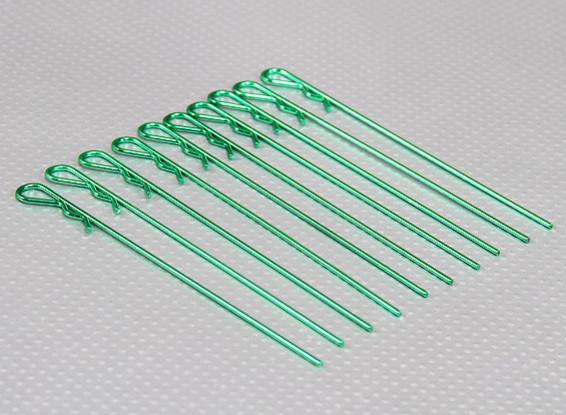 Longos pesados clipes corpo Dever (verde) (10pcs)