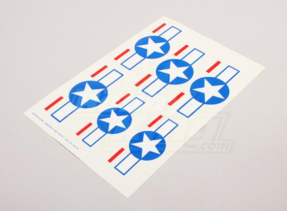 Escala da folha National Air Force Insignia Decal - EUA (estrelas e barras)