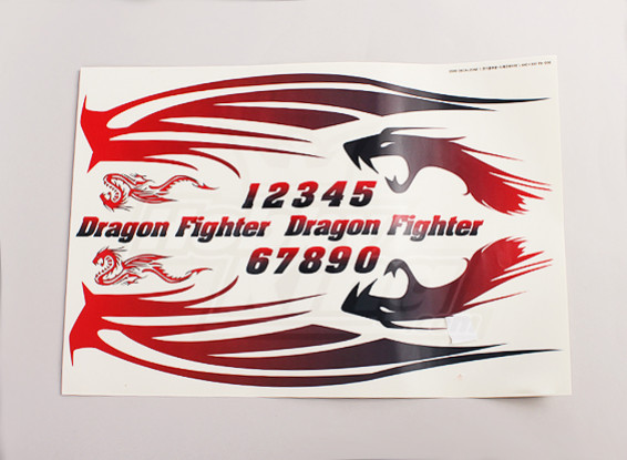 Dragon Fighter Decalque Folha Grande 445mmx300mm