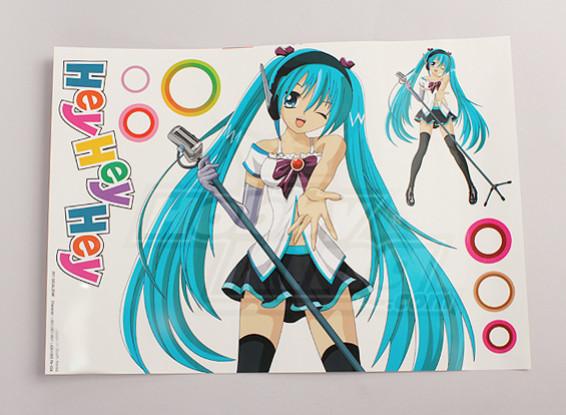 Hey, Hey, Hey Anime Character Large folha de decalque