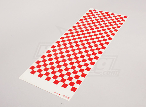 Folha de decalque pequeno Chequer Pattern Red / Clear 590mmx180mm