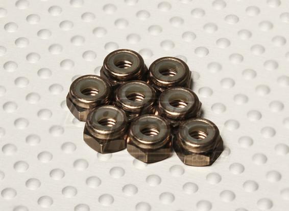 Cor titânio alumínio anodizado M4 Nylock Nuts (8pcs)