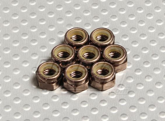 Cor titânio alumínio anodizado M5 Nylock Nuts (8pcs)