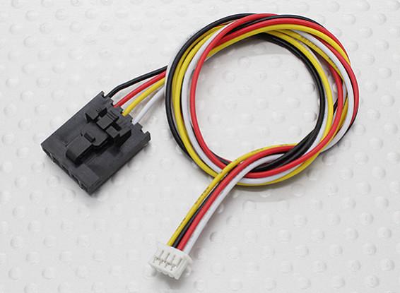 300 milímetros 5 Pin Molex / JR a 4 Chumbo Pin Branco Connector