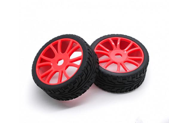 HobbyKing 1/8 Scale Roda RX Rally Y-Spoke / Pneu 17 milímetros Hex (vermelho)