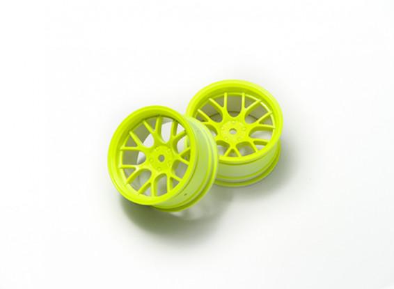 1:10 Roda Set 'Y' 7 raios amarelo fluorescente (6 mm Offset)