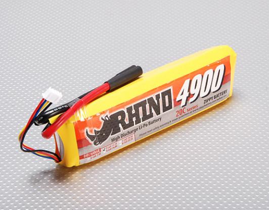 Rhino 4900mAh 3S1P 11.1v 20C Lipoly pacote