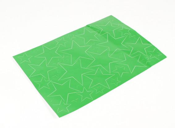 Star Padrão auto-adesivo Decal Set 420 x 300 milímetros (verde) (1pc)