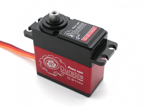 Poder HD Durable D-21HV alta tensão Digital Car Servo w / liga de titânio Engrenagens 21 kg / 75g / .12sec