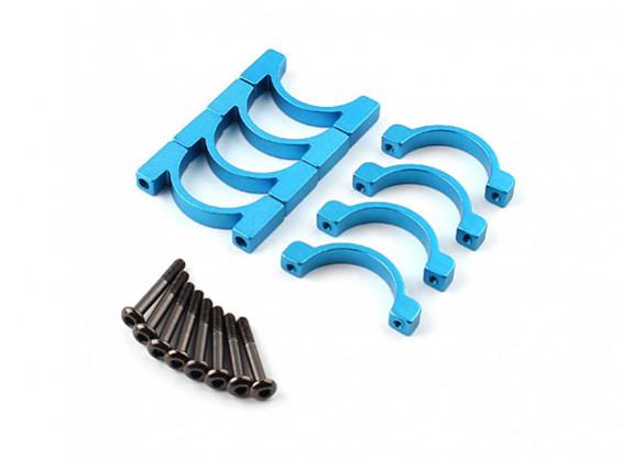 Azul anodizado Dupla Face CNC alumínio Tubo braçadeira 20 mm de diâmetro