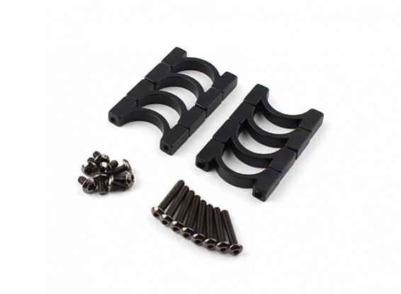Anodizado preto Dupla Face CNC alumínio Tubo braçadeira 16 mm de diâmetro