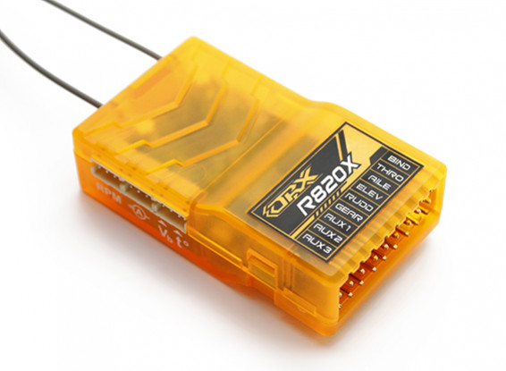 OrangeRx R820X 8Ch 2.4GHz DSM2 / DSMX CompFullRangeReceiver w / SatDivAnt, F / S & CPPM