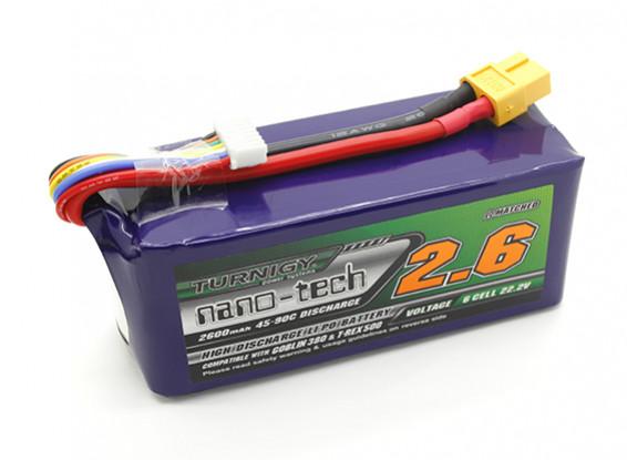 Turnigy nano-tecnologia 2600mAh 6S 45 ~ 90C LiPoly Bateria
