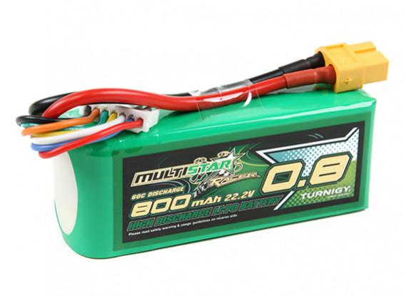 Multistar Racer Série 800mAh 6S 60C Lipo Pack (ouro Spec)