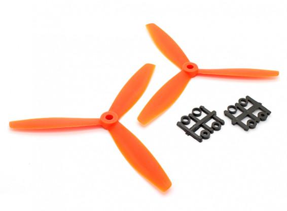 GemFan 6040 GRP 3-Blade Hélices CW / CCW Set Orange (1 par)