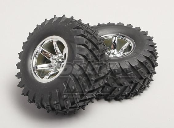 1/8 Monster Truck Wheel & Tyre 14 milímetros Hex (2pc)