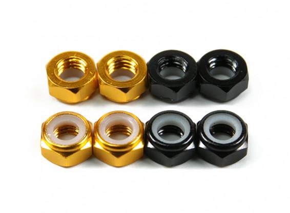 De alumínio de baixo perfil Nyloc Porca M5 (4 Black CW & 4 Gold CCW)