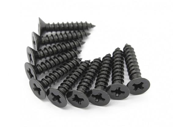Screw Flat Head Phillips M4x20mm Self Tapping Steel Black (10pcs)