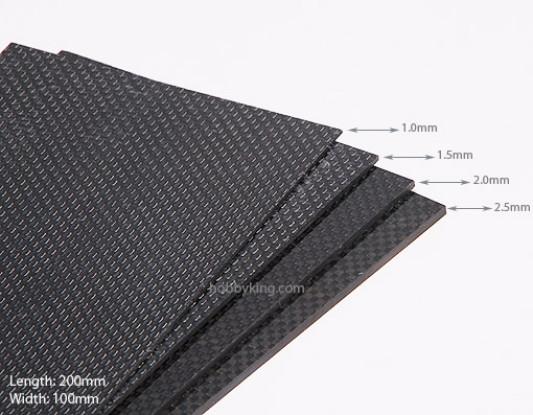 Tecido de fibra de carbono Folha de 200x100 (1 mm de espessura)