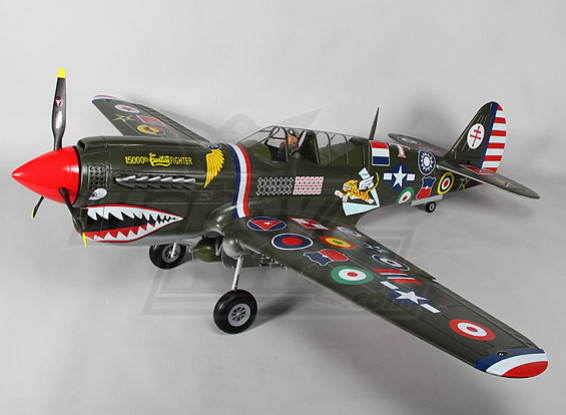 P-40N (verde) 6s escala gigante w / abas, luzes e retrai 1.700 milímetros EPO (PNF)