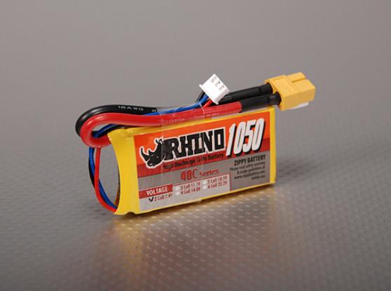 Rhino 1050mAh 2S 7.4V 40C Lipoly pacote