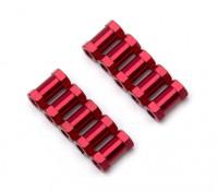 Leve de alumínio redonda Seção Spacer M3x10mm (vermelho) (10pcs)