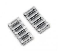Leve de alumínio redonda Seção Spacer M3x13mm (prata) (10pcs)