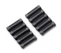 Leve de alumínio redonda Seção Spacer M3x17mm (Black) (10pcs)