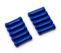 Leve de alumínio redonda Seção Spacer M3x17mm (azul) (10pcs)