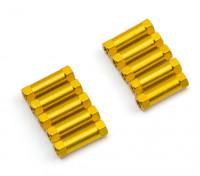 Leve de alumínio redonda Seção Spacer M3x17mm (ouro) (10pcs)