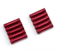 Leve de alumínio redonda Seção Spacer M3x20mm (vermelho) (10pcs)