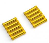 Leve de alumínio redonda Seção Spacer M3x20mm (ouro) (10pcs)