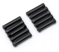 Leve de alumínio redonda Seção Spacer M3x22mm (Black) (10pcs)