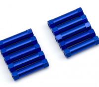Leve de alumínio redonda Seção Spacer M3x22mm (azul) (10pcs)