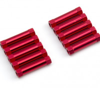 Leve de alumínio redonda Seção Spacer M3x22mm (vermelho) (10pcs)