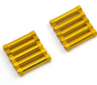 Leve de alumínio redonda Seção Spacer M3x25mm (ouro) (10pcs)